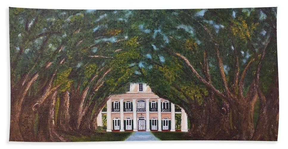 Oak Alley Bath Sheet featuring the painting Oak Alley Plantation by Judy Jones