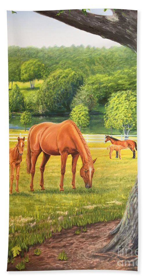 Horse Painting Hand Towel featuring the painting Oak And Chestnuts by Guy C Lockwood