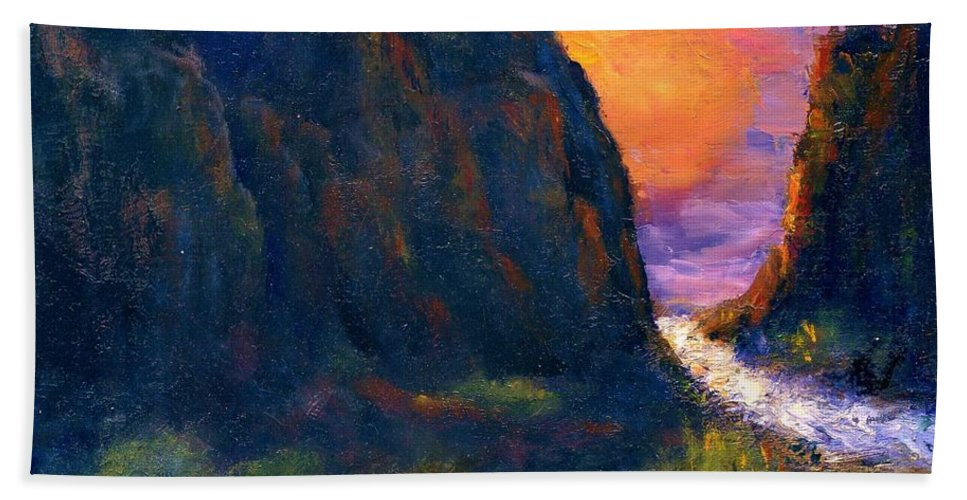 Impressionistic Bath Towel featuring the painting Oak Creek Canyon by Gail Kirtz