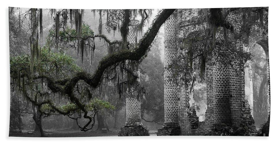Old Sheldon Church Bath Towel featuring the photograph Oak Limb At Old Sheldon Church by Scott Hansen