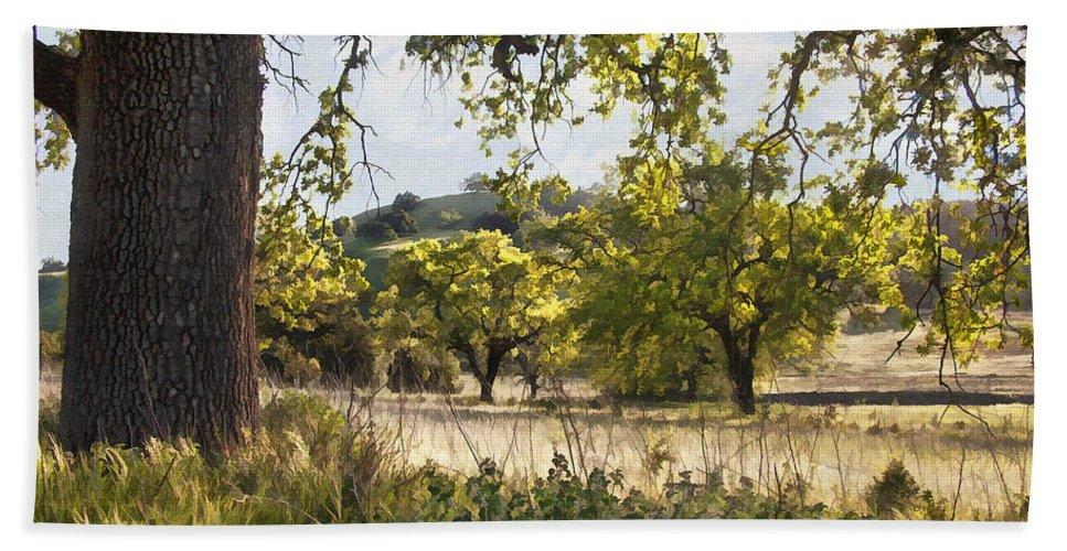 Tree Bath Sheet featuring the digital art Oak Meadow by Sharon Foster