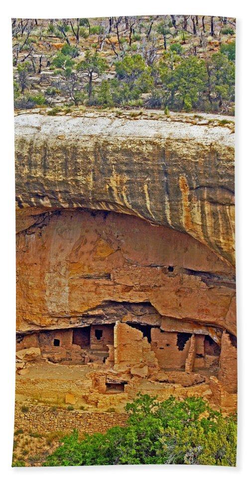 Landscape Bath Sheet featuring the photograph Oak Tree House - Mesa Verde by Glenn W Smith