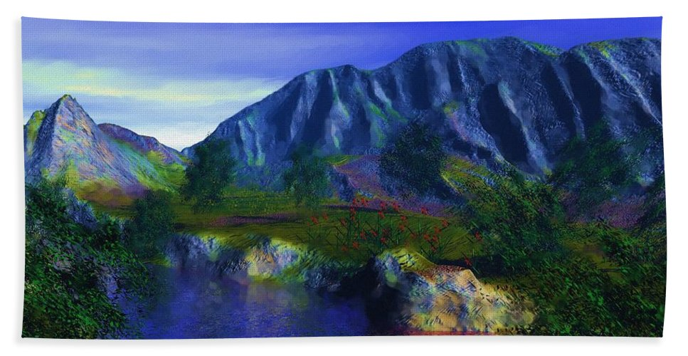 Fine Art Bath Sheet featuring the digital art Oasis by David Lane