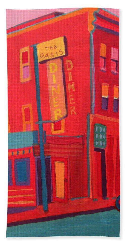 Diner Bath Sheet featuring the painting Oasis Diner Burlington VT by Debra Bretton Robinson