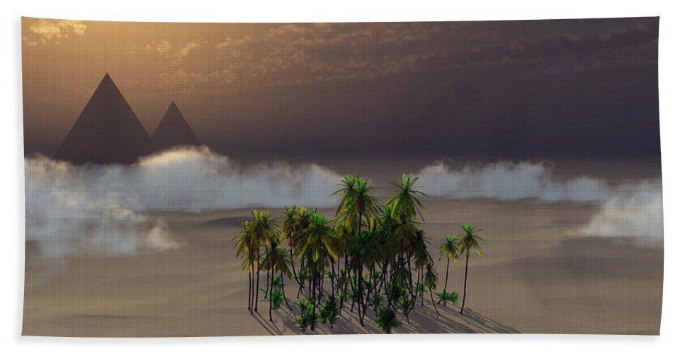 Deserts Hand Towel featuring the digital art Oasis by Richard Rizzo