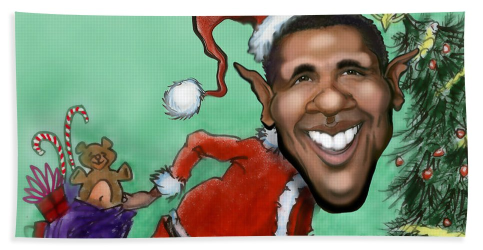 Santa Hand Towel featuring the digital art Obama Christmas by Kevin Middleton