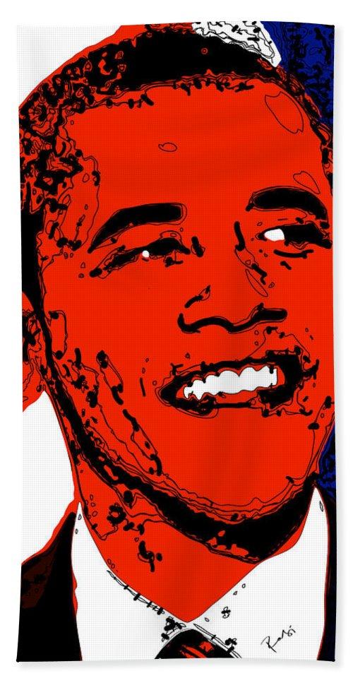 African Bath Sheet featuring the digital art Obama Hope by Rabi Khan
