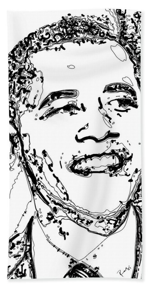 American Hand Towel featuring the digital art Obama by Rabi Khan