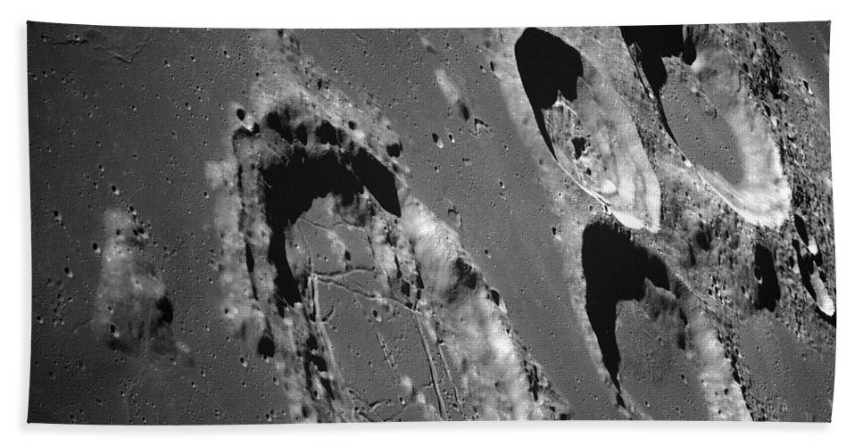 Sea Of Fertility Bath Sheet featuring the photograph Oblique View Of The Lunar Surface by Stocktrek Images