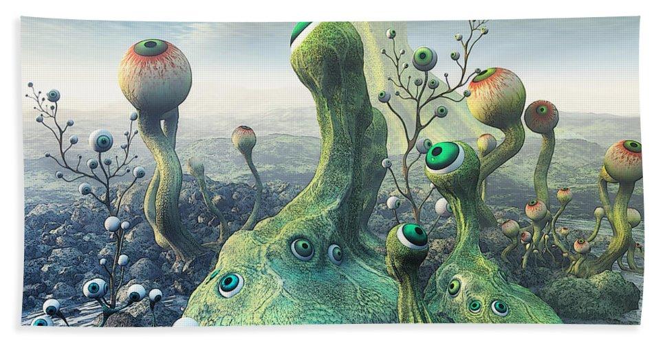 3d Bath Sheet featuring the digital art Observation by Jutta Maria Pusl
