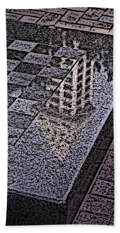 Seattle Bath Towel featuring the digital art Occidental Park Checkerboard by Tim Allen