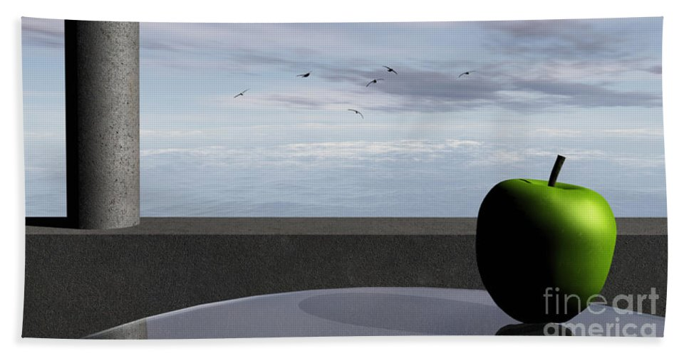 Modern Hand Towel featuring the digital art Ocean Balcony by Richard Rizzo