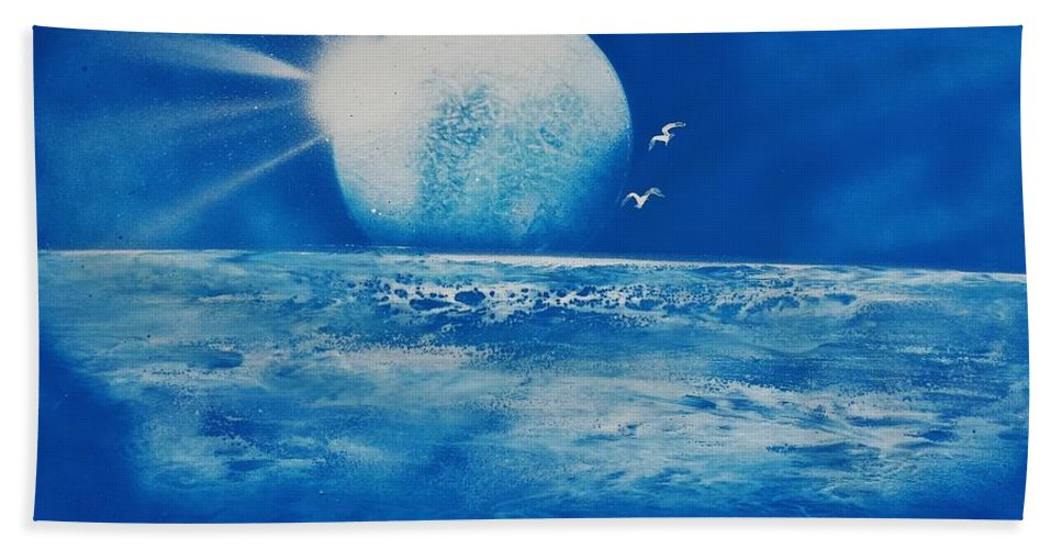 Hand Towel featuring the painting Ocean Blue by Mario Carta