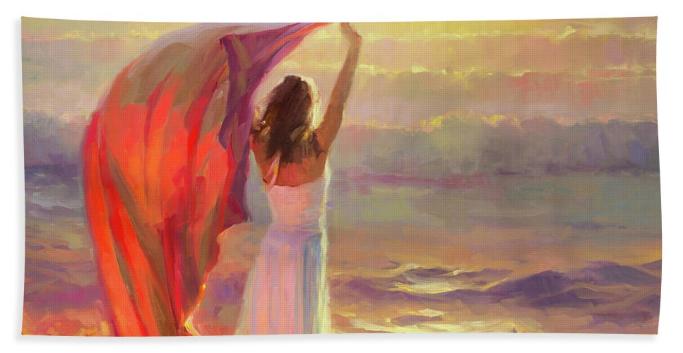 Ocean Bath Towel featuring the painting Ocean Breeze by Steve Henderson