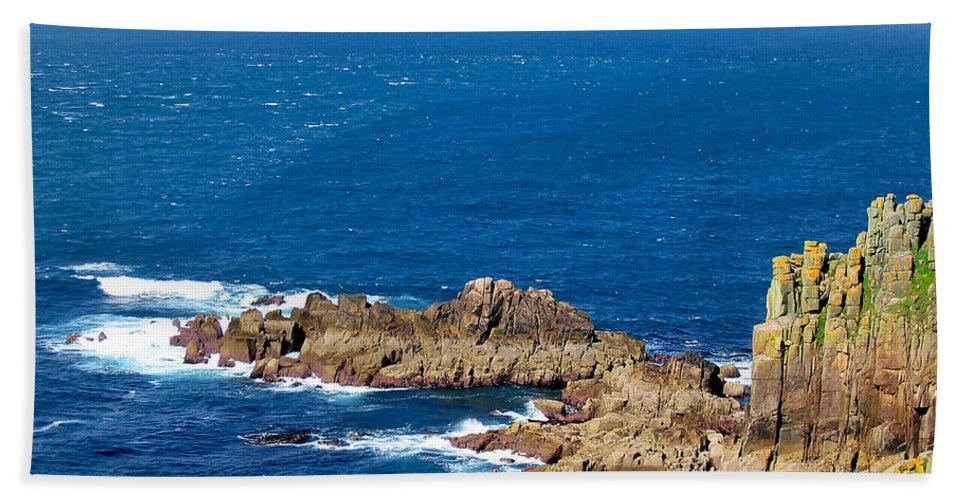 Aqua Bath Sheet featuring the photograph Ocean Cliffs by Svetlana Sewell