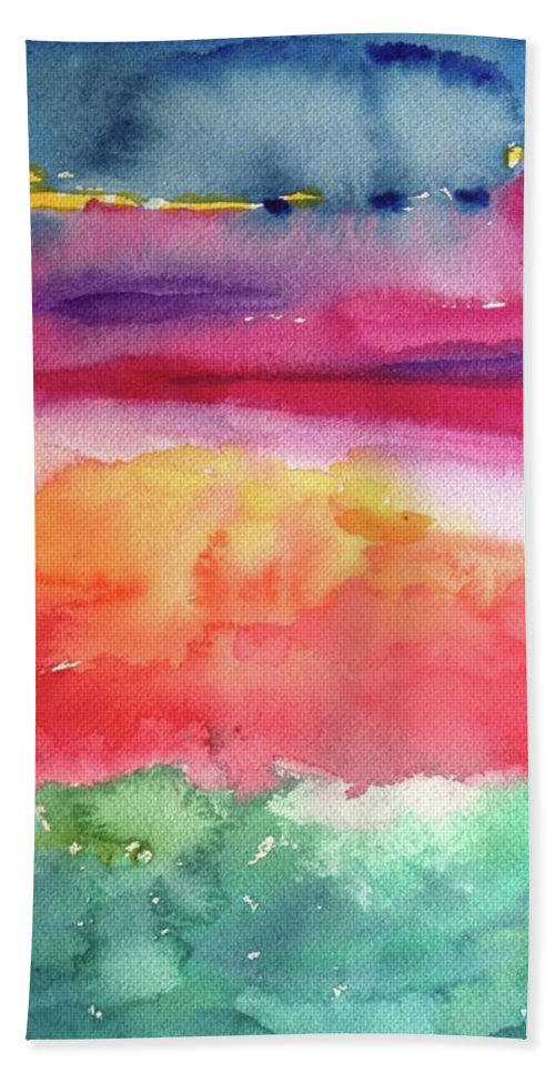 Abstract Hand Towel featuring the painting Ocean Deep by Bonny Butler