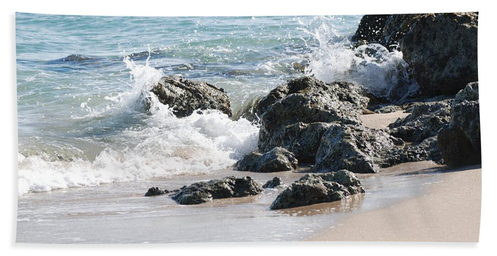 Ocean Hand Towel featuring the photograph Ocean Drive Rocks by Rob Hans