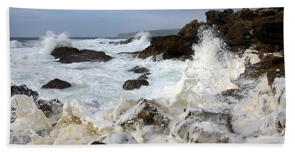 Background Bath Sheet featuring the photograph Ocean Foam by Carlos Caetano