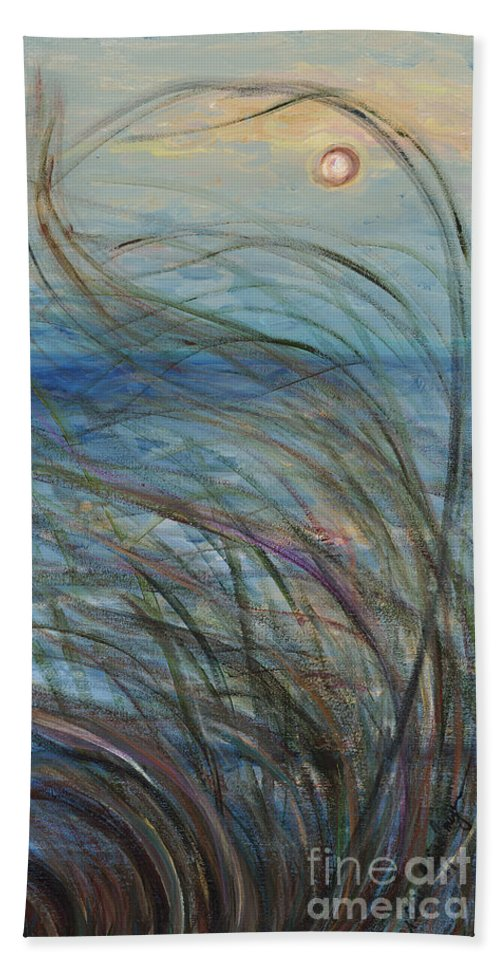 Sunrise Hand Towel featuring the painting Ocean Grasses in the Wind by Nadine Rippelmeyer