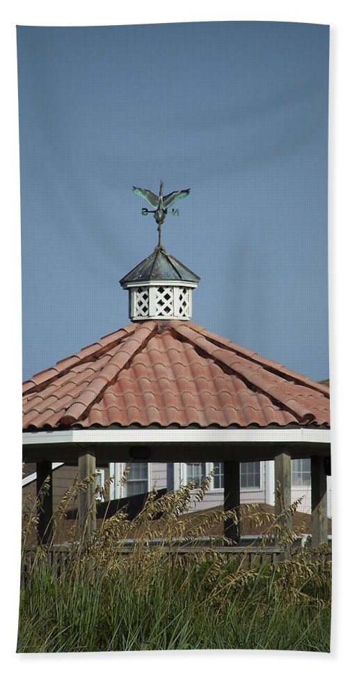 Ocean Hand Towel featuring the photograph Ocean Isle Pelican Weathervane by Teresa Mucha