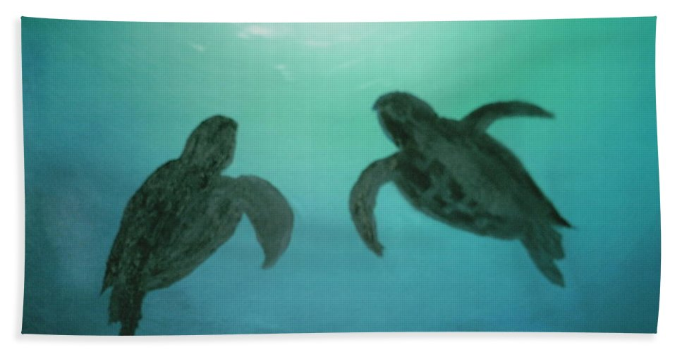 Turtles Acending Into The Surface Light From The Ocean Deep. Hand Towel featuring the painting Ocean Light by Jim Saltis