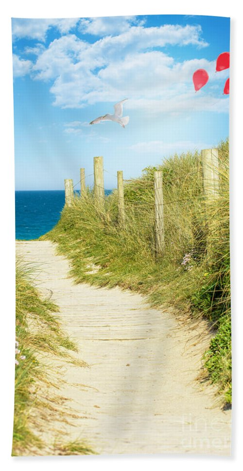 Sandy Bath Sheet featuring the photograph Ocean Path In Cornwall by Amanda Elwell