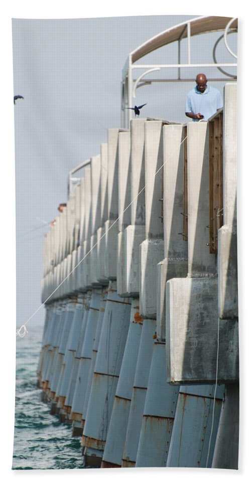 Fishing Bath Sheet featuring the photograph Ocean Pier by Rob Hans