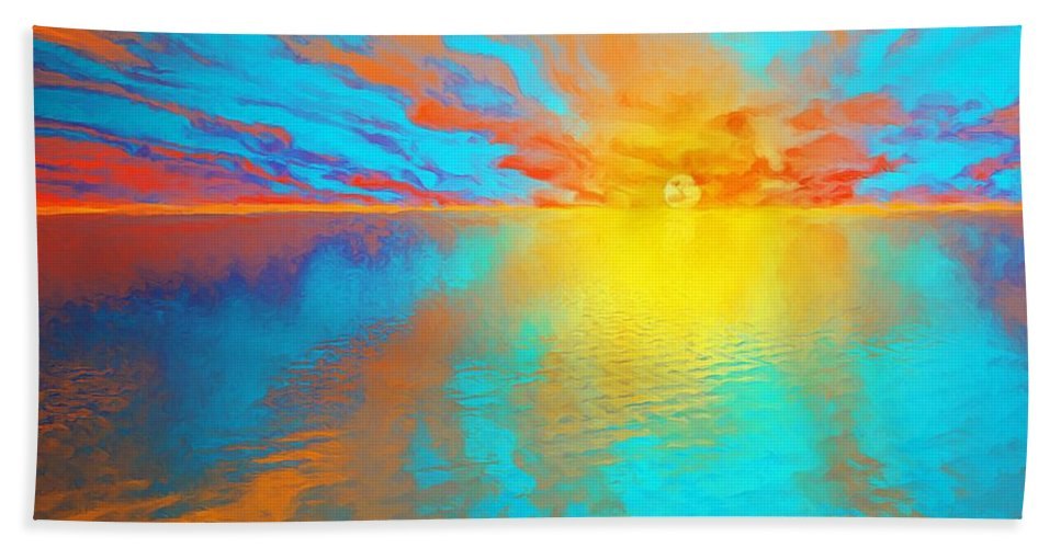 Sunset Bath Sheet featuring the painting Ocean Sunset by Susanna Katherine