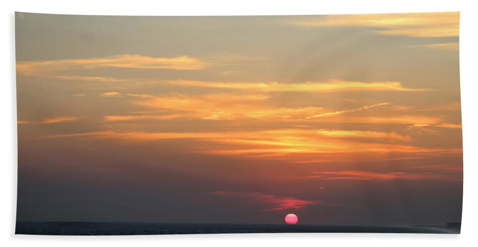Sunset Hand Towel featuring the photograph Ocean Sunset by Theresa Campbell