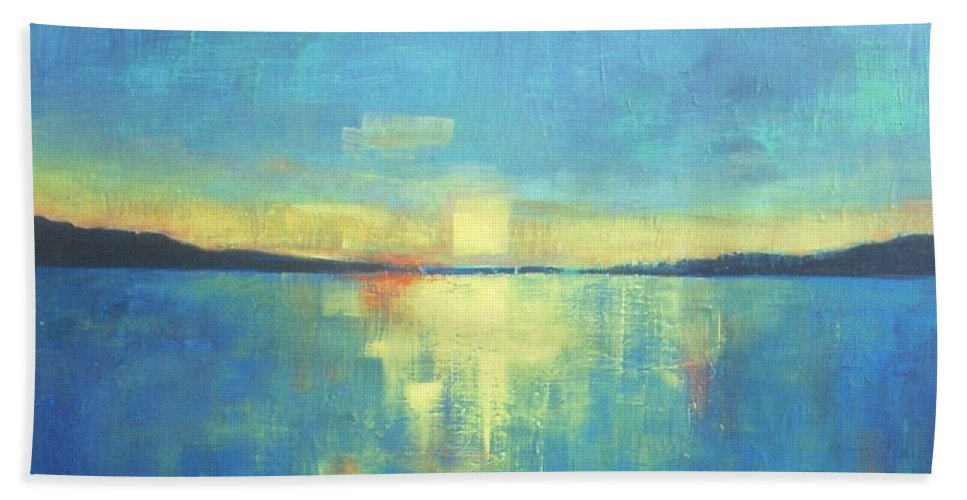 Seascape Hand Towel featuring the painting Ocean Sunset by Vesna Antic