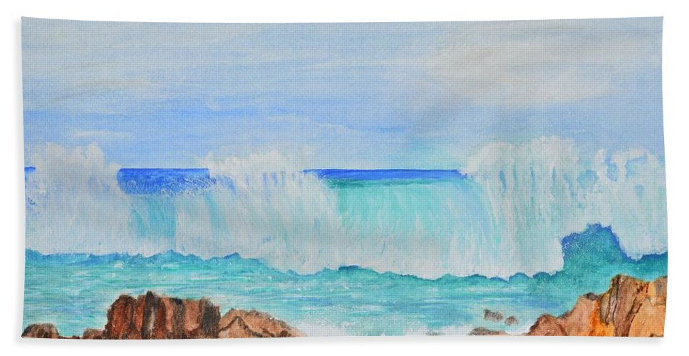 Ocean Watercolor Hand Towel featuring the painting Ocean Wave by Linda Brody