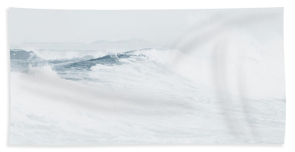 Jenny Rainbow Fine Art Photography Bath Sheet featuring the photograph Ocean Wave. Series Ethereal Blue by Jenny Rainbow