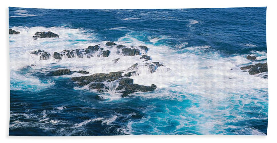 Photography Bath Sheet featuring the photograph Ocean Waves Crashing On Rocks by Panoramic Images