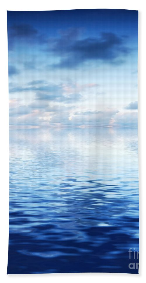 Abstract Bath Sheet featuring the photograph Ocean With Calm Waves Background With Dramatic Sky by Michal Bednarek