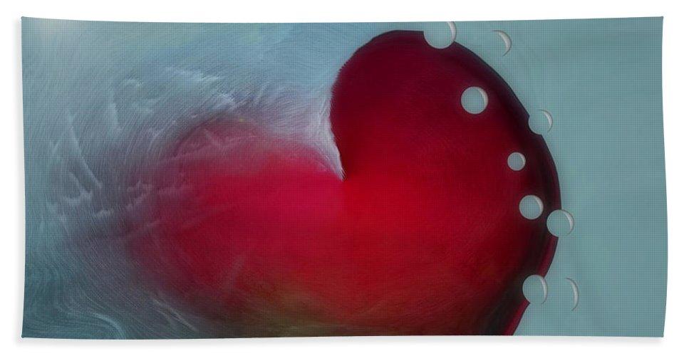 Hearts Bath Towel featuring the digital art Oceans Heart by Linda Sannuti