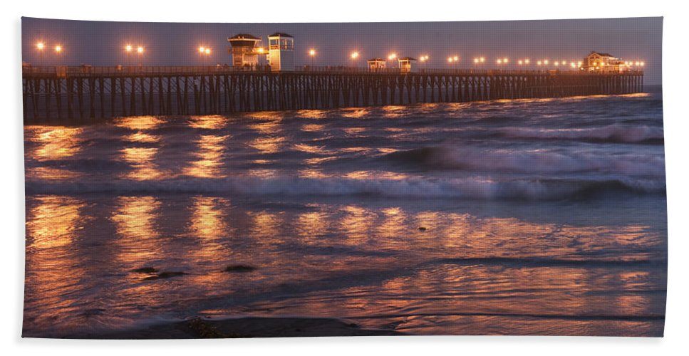 Waterscape Bath Sheet featuring the photograph Oceanside Pier In The Mist by Sandra Bronstein