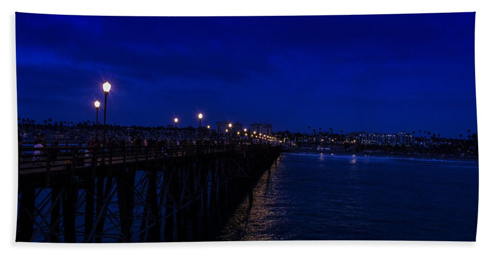 California Hand Towel featuring the photograph Oceanside Pier Night Image by JG Thompson