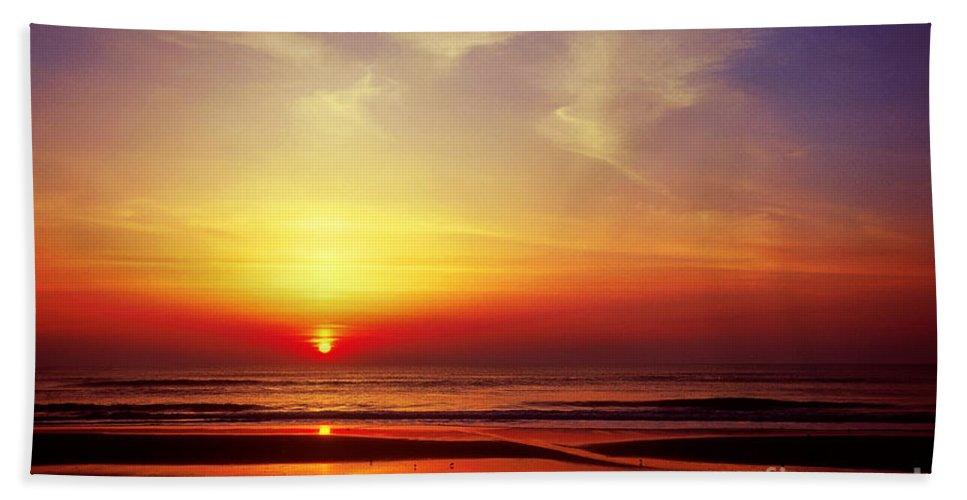 Beach Hand Towel featuring the photograph Ocen Sunrise. by John Greim