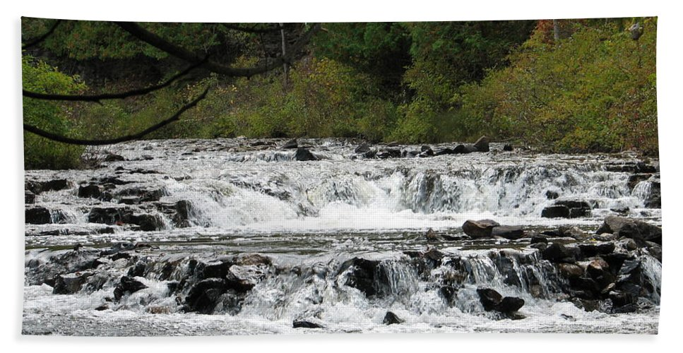Waterfall Hand Towel featuring the photograph Ocqueoc by Kelly Mezzapelle