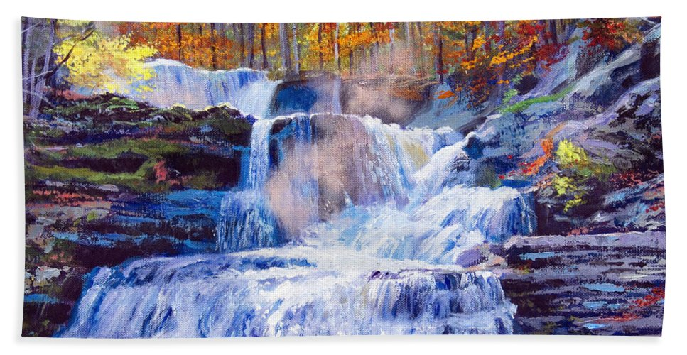 Impressionism Bath Sheet featuring the painting October Falls by David Lloyd Glover