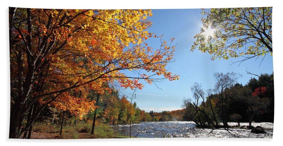 Autumn Bath Sheet featuring the photograph October Light by Mircea Costina Photography