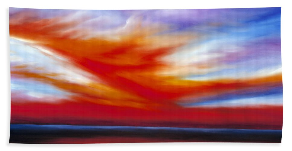 Seascape Hand Towel featuring the painting October Sky II by James Christopher Hill