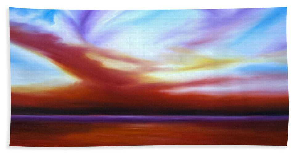 Skyscape Hand Towel featuring the painting October Sky IIi by James Christopher Hill