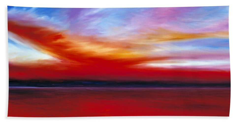 Clouds Bath Towel featuring the painting October Sky by James Christopher Hill