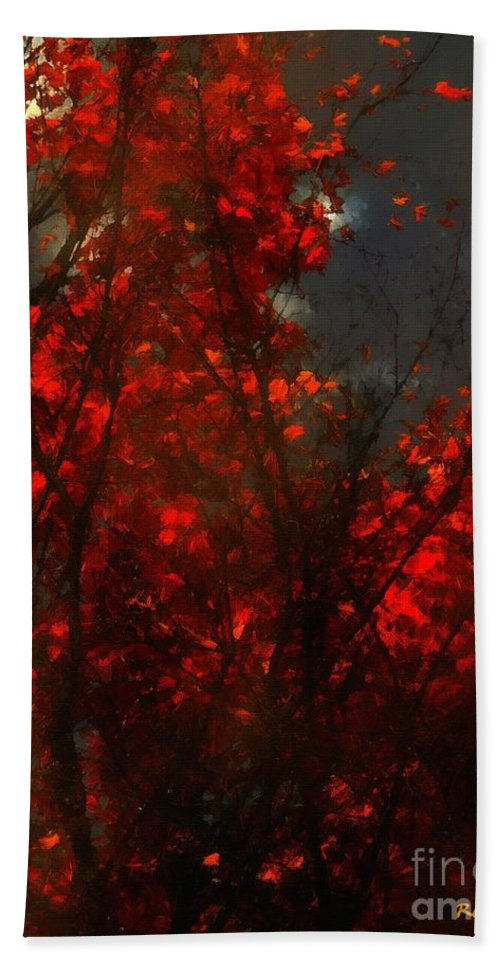 Autumn Hand Towel featuring the painting October Sky by RC DeWinter