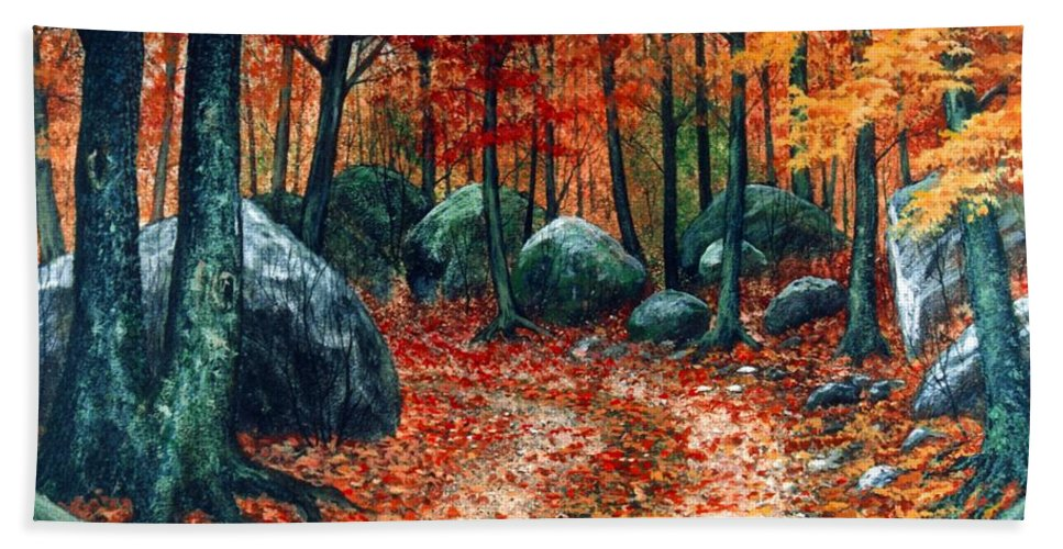 Landscape Bath Towel featuring the painting October Woodland by Frank Wilson