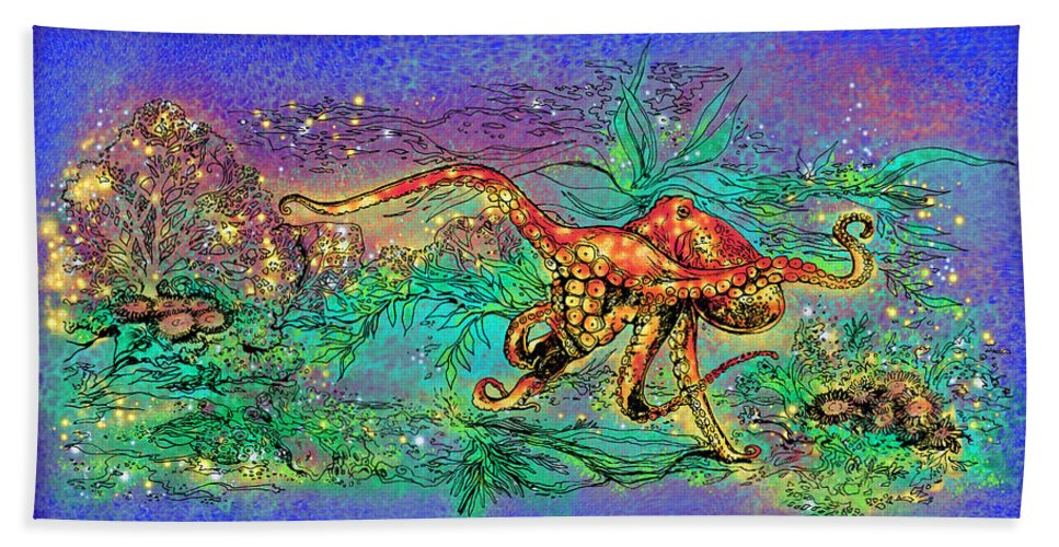 Octopus Bath Sheet featuring the drawing Octopus Garden by Katherine Nutt