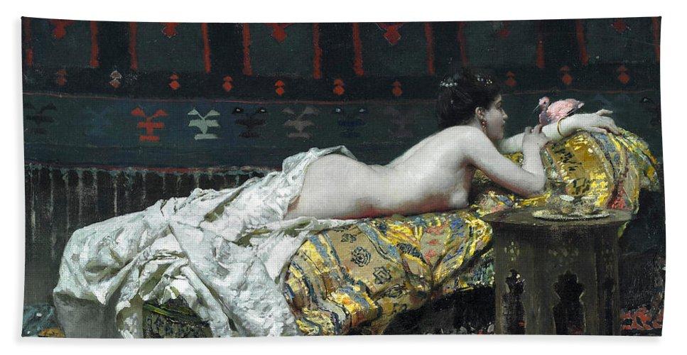 Francesco Netti Bath Sheet featuring the painting Odalisque by Francesco Netti