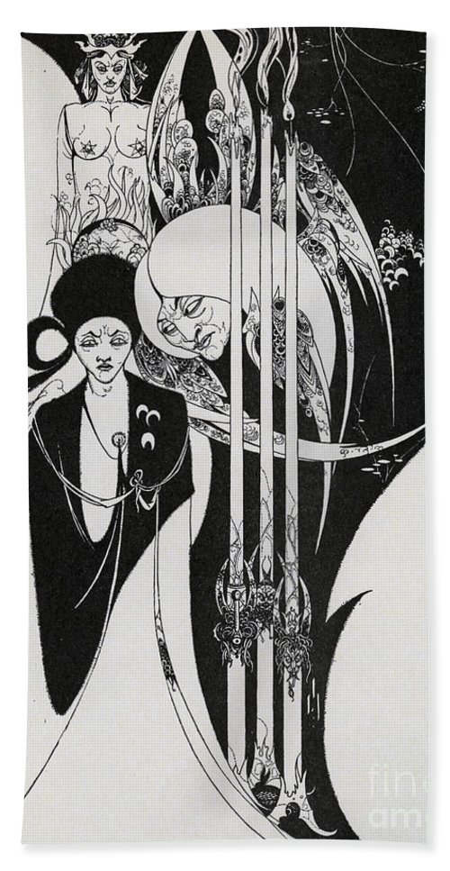 Neophyte Hand Towel featuring the painting Of A Neophyte And How The Black Art Was Revealed Unto Him by Aubrey Beardsley
