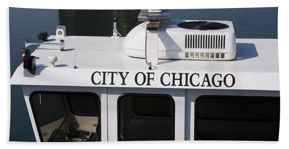 Chicago Windy City Police Boat Lake Michigan Water White Bath Towel featuring the photograph Off Duty by Andrei Shliakhau